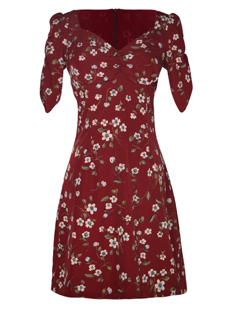 Flower Printing Shirring Short Dress - SINCETHEN