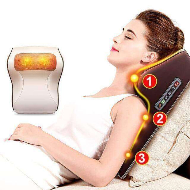 3-in-1 Shiatsu Neck and Back Massager Pillow with Heating - Body Massager