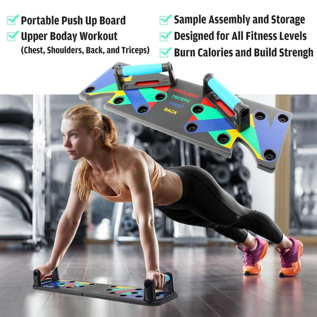 9 in 1 Power Push Up w/ Resistance Bands - Strength Board - Body Massager