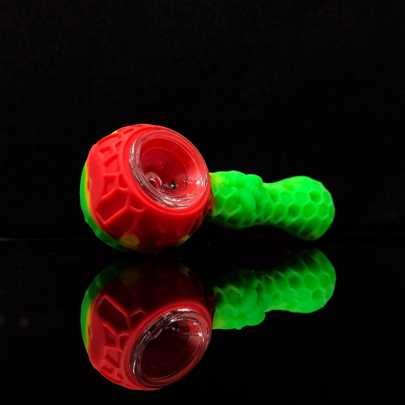 Silicone Pipe w/ Poker & Glass Bowl