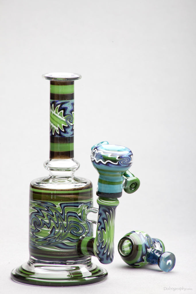 Cowboy X Sleek: Double Layered Green Gridded Stemline Bubbler