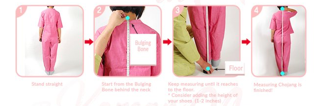 Chojang height Hanbok Korean traditional clothing measuring guide