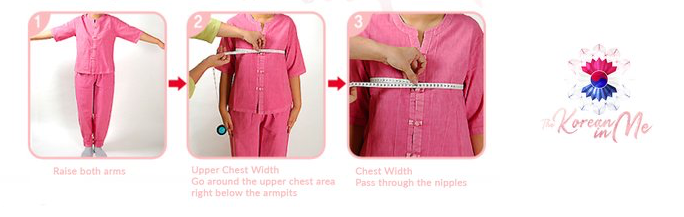 Chest and upper chest Hanbok Korean traditional clothing measuring guide