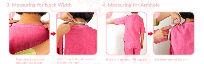 Armhole and neck width Hanbok Korean traditional clothing measuring guide