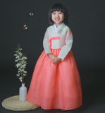 Girl's Korean Hanbok: Bright Lady in Peach