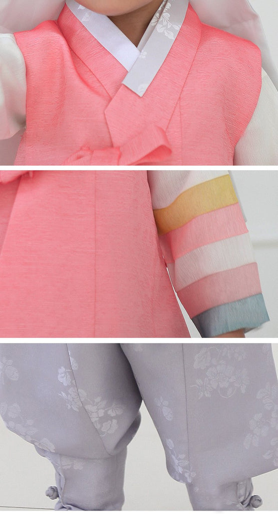 Close up of pink and gray korean boys hanbok