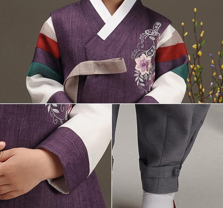 Closeup of royal purple boys hanbok