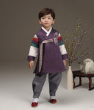 Young boy wearing a royal purple hanbok and looking up