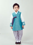 Young boy wearing a sky blue hanbok and purple pants