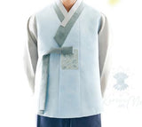 Custom grooms hanbok blue top closeup