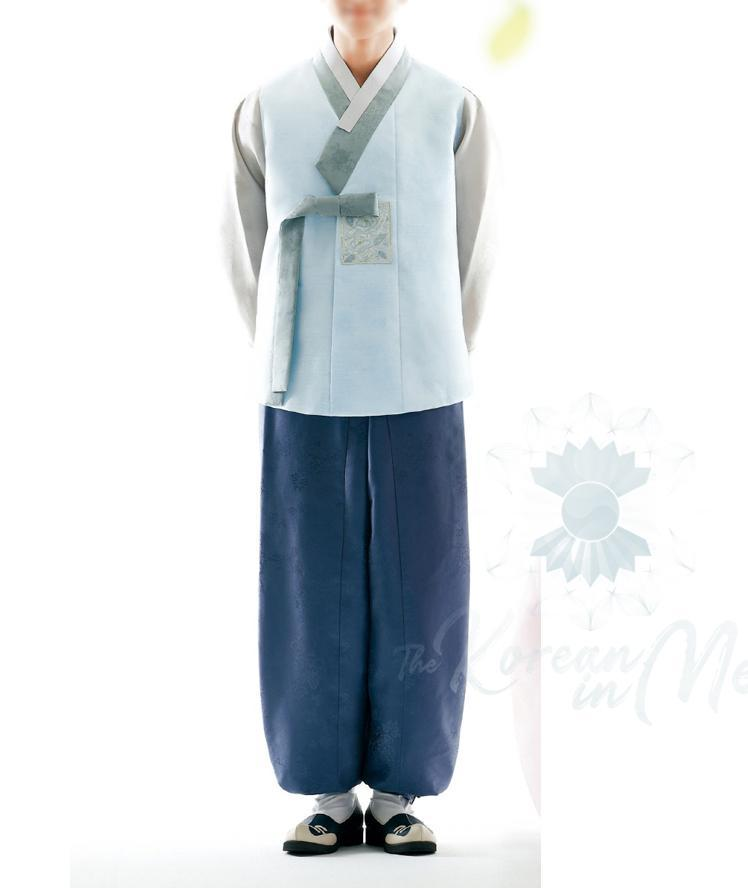 Custom grooms hanbok blue top and blue pants