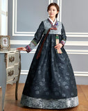 Custom Mother-of-the-Bride Hanbok: Gray Top Slate Skirt