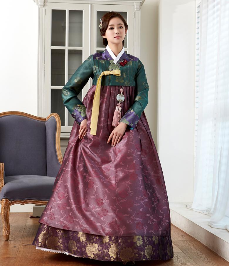 Custom Mother-of-the-Bride Hanbok: Royal Green Top Purple Skirt-The Korean In Me