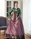 Custom Mother-of-the-Bride Hanbok: Royal Green Top Purple Skirt