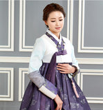 Custom Mother-of-the-Bride Hanbok: White Top Purple Skirt