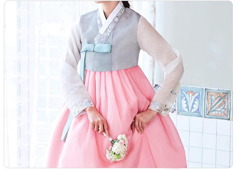 Custom Women's Bridal Hanbok: Blue and Pink Sheer Top-The Korean In Me