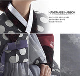 Woman wearing a Custom Women's Bridal Hanbok with Polka Dots Closeup