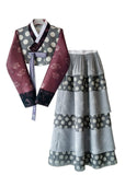 Custom Women's Bridal Hanbok with Polka Dots Top and Skirt Separates
