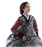 Woman wearing a Custom Women's Bridal Hanbok with Polka Dots