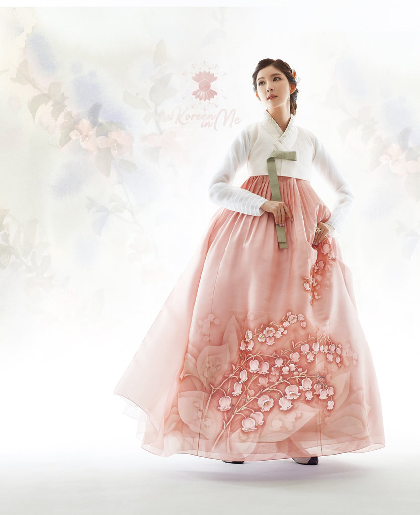 Woman wearing Custom Women's Bridal Hanbok in Floral Sheer Pearl style