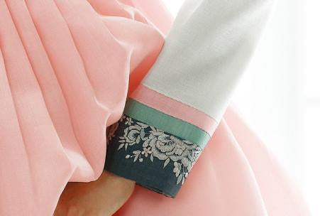 Closeup of sleeve for Custom Women's Bridal Hanbok in Pale Floral style