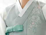 Closeup of Top for Custom Women's Bridal Hanbok in Pale Floral style