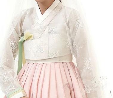 Closeup of Custom Women's Bridal Hanbok in Peach Tulle style