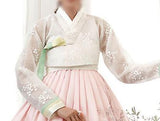 Closeup of Top of Custom Women's Bridal Hanbok in Peach Tulle style