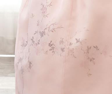 Closeup of Skirt of Custom Women's Bridal Hanbok in Peach Tulle style