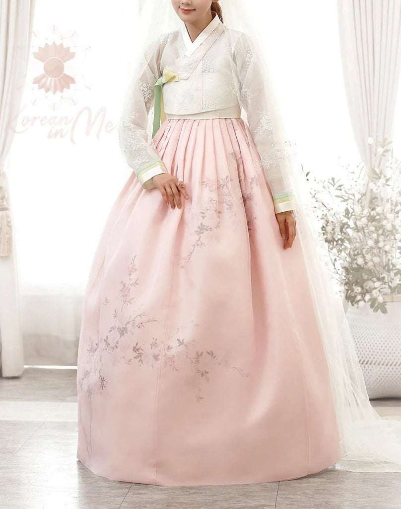 Woman wearing Custom Women's Bridal Hanbok in Peach Tulle style