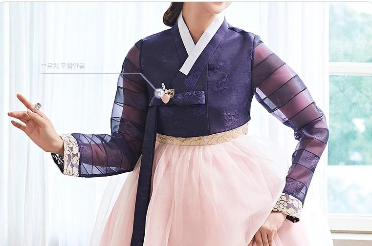 Closeup of Woman wearing Custom Women's Bridal Hanbok in Lavender and Peach