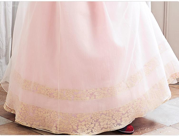 Closeup of skirt for Custom Women's Bridal Hanbok in Lavender and Peach