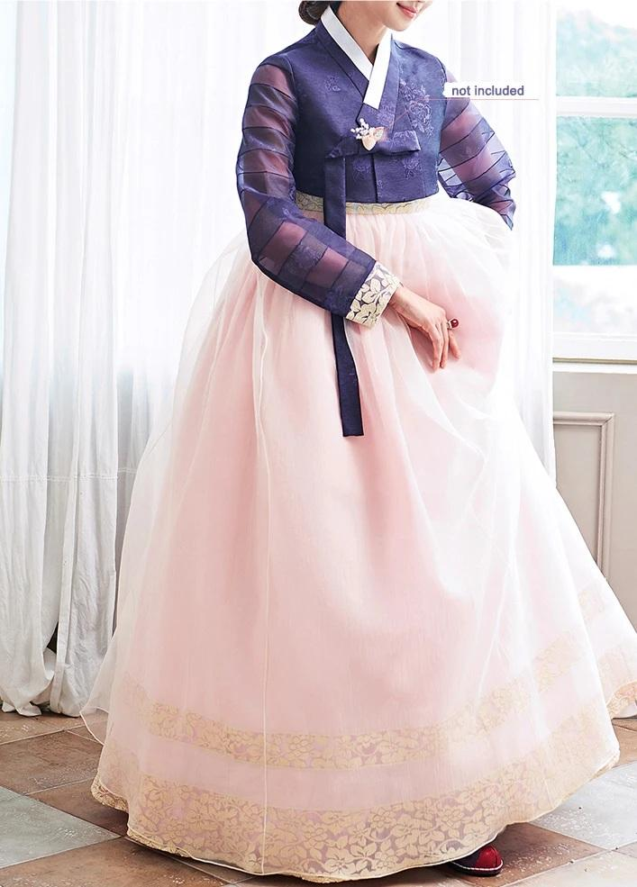Woman wearing Custom Women's Bridal Hanbok in Lavender and Peach