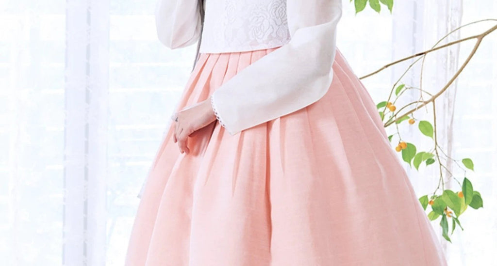 Closeup of sleeve for Custom Women's Bridal Hanbok in Peach