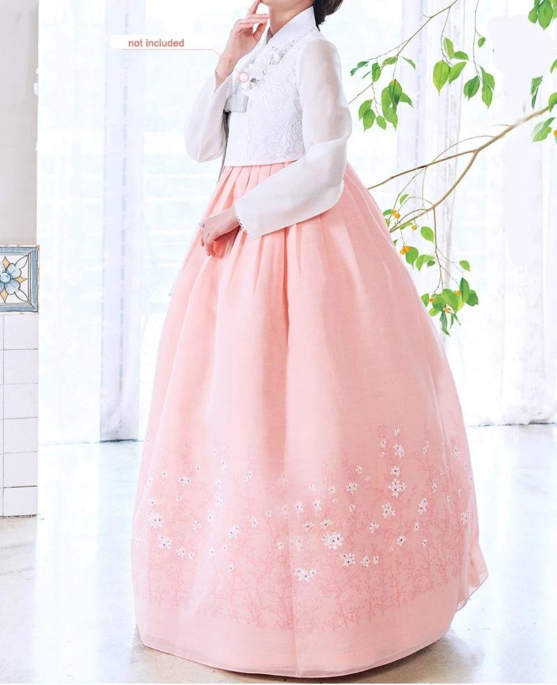 Woman wearing Custom Women's Bridal Hanbok in Peach