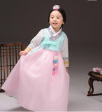 Young girl holding her skirt while wearing a girls korean hanbok with lavender top and pink skirt