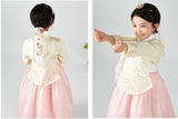 Back and side view of Young girl wearing a girls korean hanbok with pastel yellow top and pink skirt