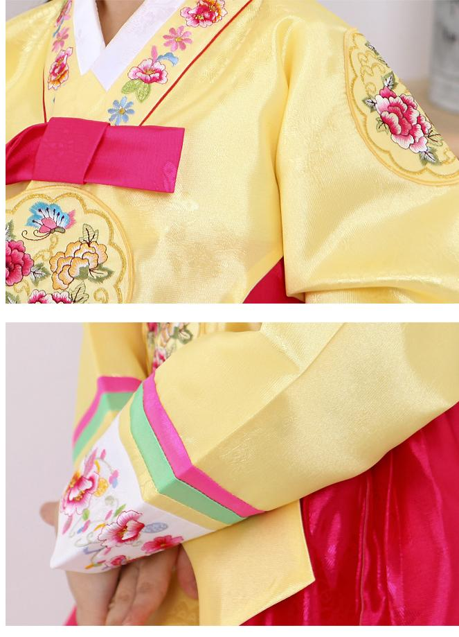 Closeup of top of a girls korean hanbok with yellow top and bright red skirt