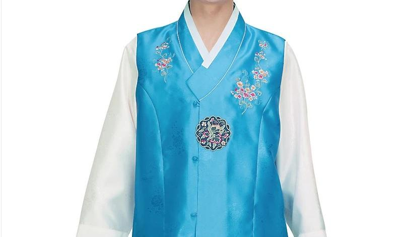 men's korean hanbok with blue top