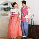Wedding Hanboks: White and Pink Couples Set