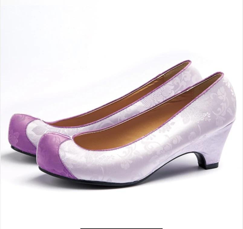 Women's Hanbok Flower Shoes - Lilac Satin-The Korean In Me