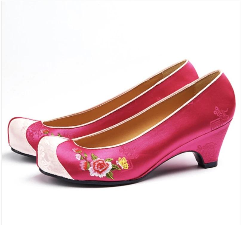 Women's Hanbok Flower Shoes - Magenta Pink with Floral Print-The Korean In Me