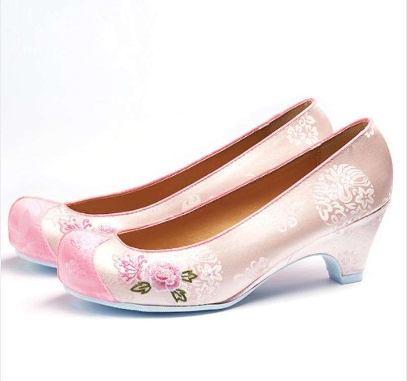Women's Hanbok Flower Shoes - Pink with Floral Print-The Korean In Me