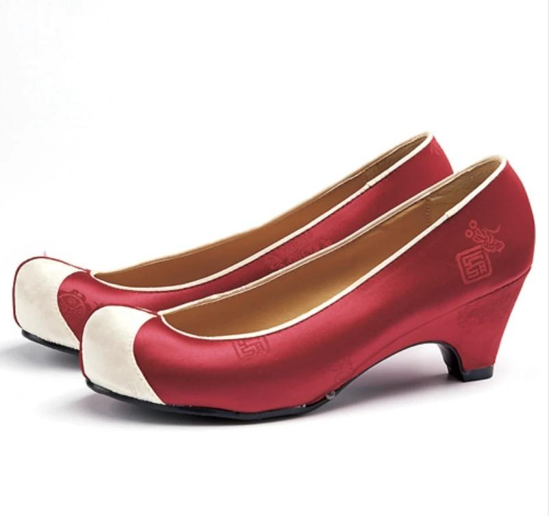 Women's Hanbok Flower Shoes - Red Satin-The Korean In Me