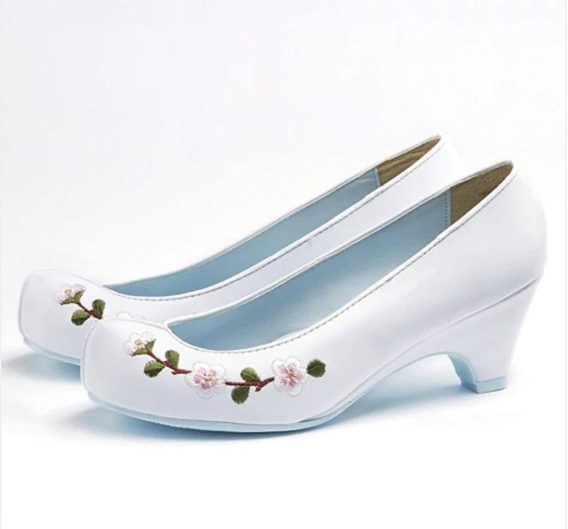 Women's Hanbok Flower Shoes - White with Floral Print-The Korean In Me