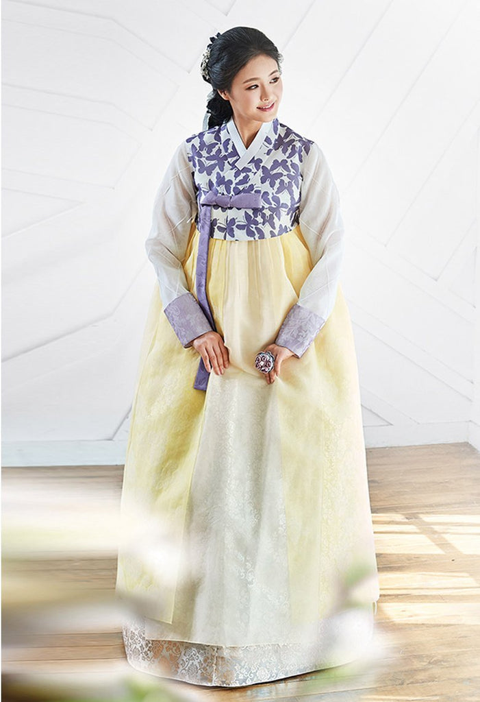 Women's Korean Hanbok: Butterfly Top Gold Skirt-The Korean In Me