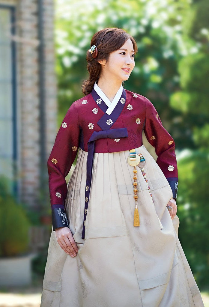 Women's Korean Hanbok: Crimson Red Top Beige Skirt-The Korean In Me