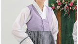Women's Korean Hanbok: Purple Top Gray Skirt-The Korean In Me