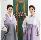 Women's Korean Hanbok: Purple Top Gray Skirt