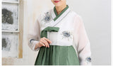 Women's Korean Hanbok: White Top Green Skirt-The Korean In Me